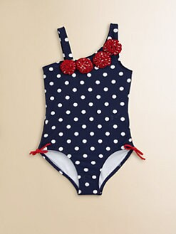 Hartstrings - Toddler's & Little Girl's One-Piece Polka Dot Rosette Swimsuit