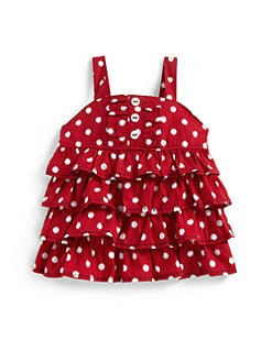 Hartstrings - Toddler's & Little Girl's Dotted Ruffle Tank Top