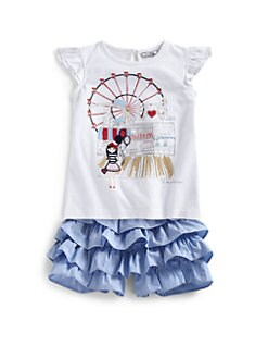 Hartstrings - Toddler's & Little Girl's Coney Island Flutter Sleeve Top