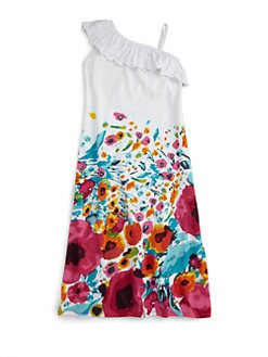 Love U Lots - Little Girl's Long Floral Knit Dress