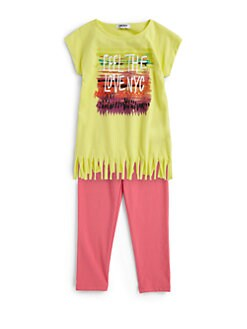 DKNY - Toddler's & Little Girl's Two-Piece Love NYC Fringe Tunic & Leggings Set