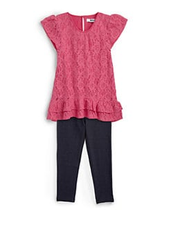 DKNY - Toddler's & Little Girl's Two-Piece Bocca Lace Tunic & Leggings Set