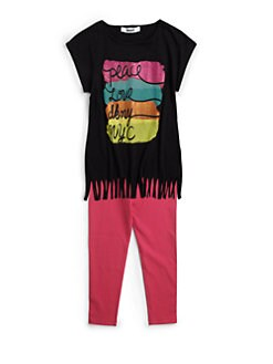 DKNY - Toddler's & Little Girl's Two-Piece Peace Love Fringe Tunic & Leggings Set