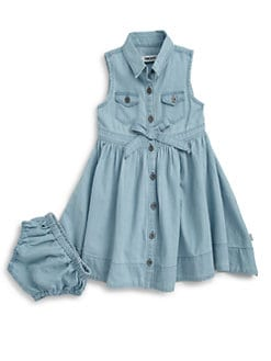 DKNY - Toddler's & Little Girl's Tilly Denim Dress & Bloomers Set