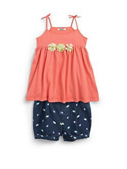 DKNY - Toddler's & Little Girl's Two-Piece Ikat Tie Tank Top & Printed Denim Bubble Shorts Set