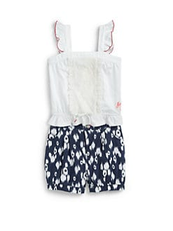 DKNY - Toddler's & Little Girl's Two-Piece Lanai Crochet Tank Top & Printed Denim Bubble Shorts Set