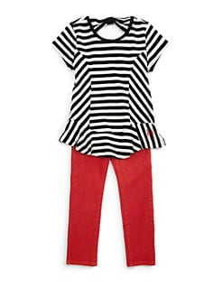 DKNY - Toddler's & Little Girl's Lorena Striped Peplum Top