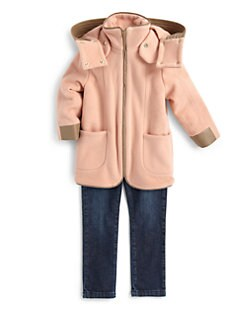 Chloe - Toddler's & Little Girl's Leather Trim Coat