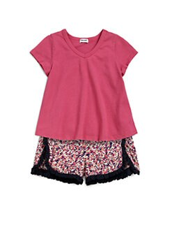 Splendid - Toddler's & Little Girl's Two-Piece V-Neck Tee & Ruffled Shorts Set