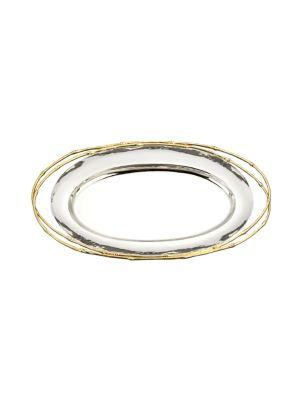 24K Gold, Stainless Steel & Sterling Silver L'Objet Evoca Large Oval Platter