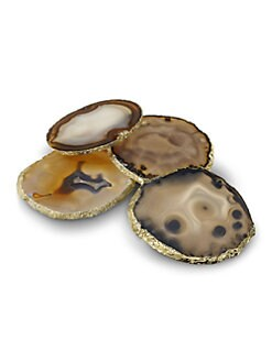 Rablabs - Agate and Sterling Silver Coaster Set