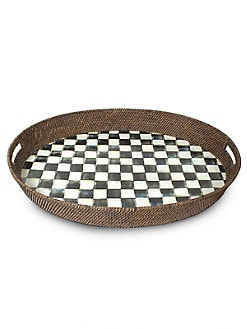 MacKenzie-Childs - Courtly Check Rattan & Enamel Tray