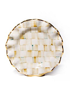 MacKenzie-Childs - Parchment Check Fluted Dinner Plate