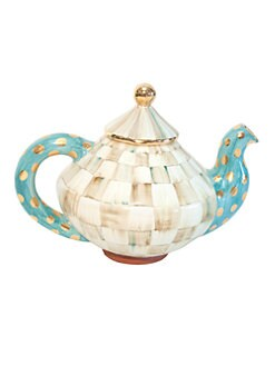 MacKenzie-Childs - Parchment Check Tea Pot & Lid