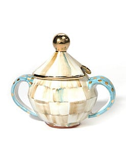 MacKenzie-Childs - Parchment Check Sugar Bowl & Lid