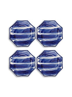 Oscar de la Renta - Hand-Painted Stoneware Cocktail Plates, Set of 4