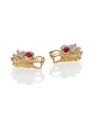 Legends Naga Ruby, Diamond, Sterling Silver & 18K Yellow Gold Stud Earrings