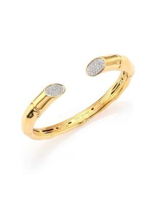Bamboo Diamond & 18K Yellow Gold Kick Cuff Bracelet