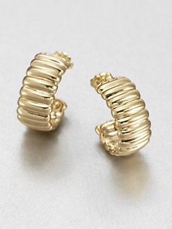 John Hardy - 18K Yellow Gold Ribbed Open Hoop Earrings/.75