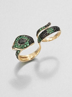 John Hardy - Semi-Precious Multi-Stone & 18K Gold Cobra Two-Finger Ring/Black Spinel