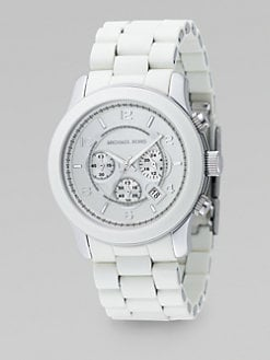 Michael Kors - Oversized Stainless Steel & White Rubber Chronograph Watch