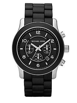 Michael Kors - Oversized Stainless Steel & Black Rubber Chronograph Watch