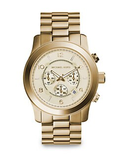 Michael Kors - Oversized Runway Goldtone Stainless Steel Chronograph Watch