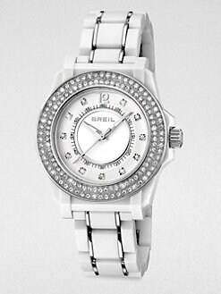 Breil - Mantalite Round Stainless Steel Crystal-Accented Bracelet Watch/White
