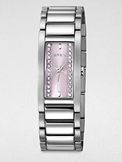 Breil - Sidney Rectangular Stainless Steel Bracelet Watch/Pink Dial