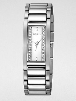 Breil - Sidney Rectangular Stainless Steel Bracelet Watch/Silver Dial