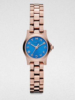 Marc by Marc Jacobs - Henry Dinky Rose Goldtone Stainless Steel Watch/Blue Dial