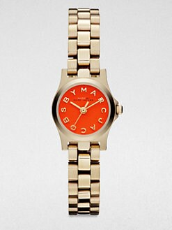 Marc by Marc Jacobs - Henry Dinky Goldtone Stainless Steel Watch/Orange Dial