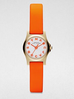 Marc by Marc Jacobs - Henry Dinky Goldtone Stainless Steel Watch/Orange Strap