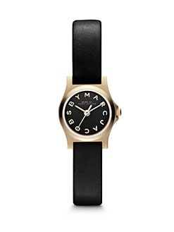 Marc by Marc Jacobs - Henry Dinky Goldtone Stainless Steel Watch/Black Strap