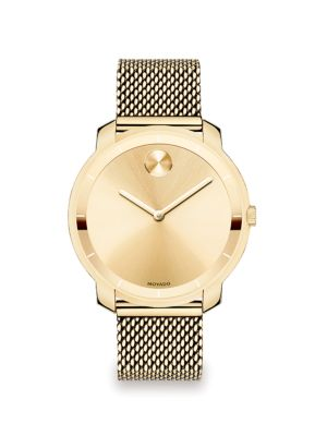 BOLD Goldtone IP Stainless Steel Mesh Bracelet Watch