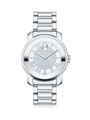 Bold Luxe Crystal & Stainless Steel Bracelet Watch