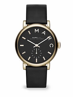 Marc by Marc Jacobs - Goldtone Stainless Steel & Leather Watch/Black