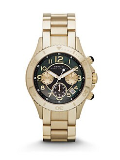 Marc by Marc Jacobs - Goldtone Stainless Steel Chronograph Watch/Black
