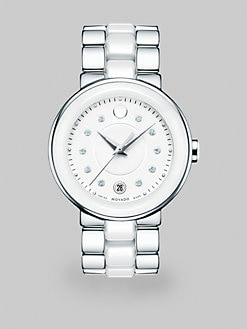 Movado - Stainless Steel & Ceramic Cerena Watch