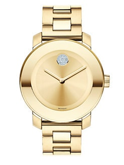 Movado - Goldtone Stainless Steel & Swarovski Crystal Bold Watch