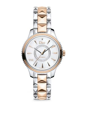 Dior VIII Montaigne Diamond, 18K Rose Gold & Stainless Steel Automatic Bracelet Watch