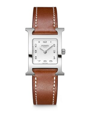 Heure H PM Stainless Steel & Leather Strap Watch