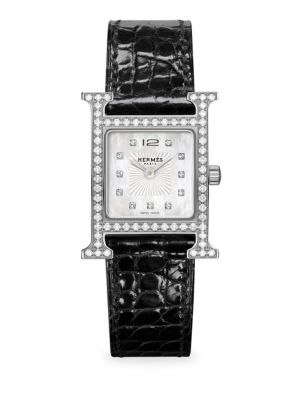 Heure H PM Diamond, Stainless Steel & Alligator Strap Watch