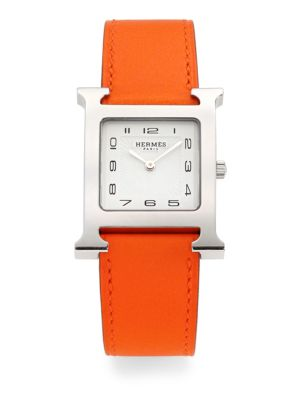 Heure H Stainless Steel & Leather Strap Watch/Orange