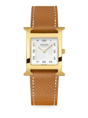 Heure H, Goldplated & Leather Strap Watch