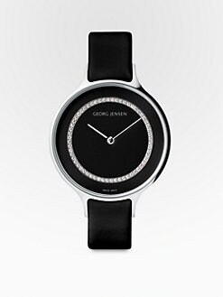 Georg Jensen - Stainless Steel & Black Leather Watch