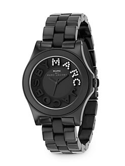 Marc by Marc Jacobs - Black Stainless Steel & Plastic Link Bracelet Watch
