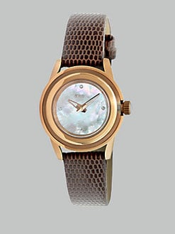 Breil - Rose Goldtone Ion-Plated Rose Lizard Strap Watch