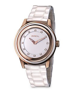 Breil - Rose Goldtone Ion-Plated Ceramic Watch