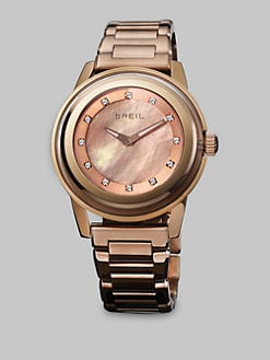 Breil - Rose Goldtone Ion-Plated Rose Mother-Of-Pearl Dial Watch